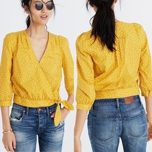 Madewell | Yellow Wrap Top In Star Scatter